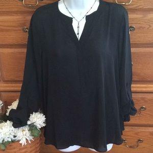 NWOT Simply Vera Black Semi Sheer Tunic.